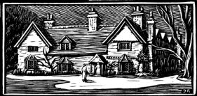wood-engraving original print: Pegsdon Barns
